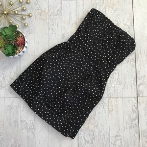 Mango strapless black polka dot dress Size XS
